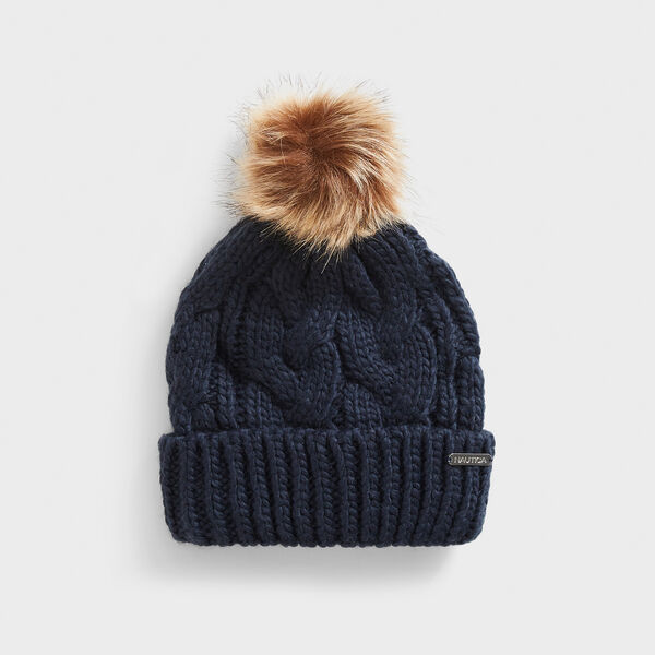 CABLE-KNIT POM-POM BEANIE - Navy