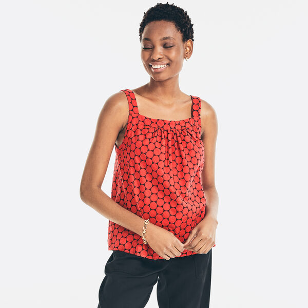 EMBROIDERED EYELET SLEEVELESS TOP - Tomales Red