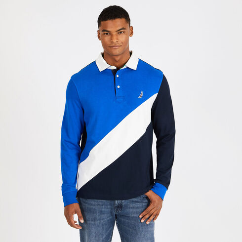 Colorblock Long Sleeve Classic Fit Souvenir Polo - Bright Cobalt