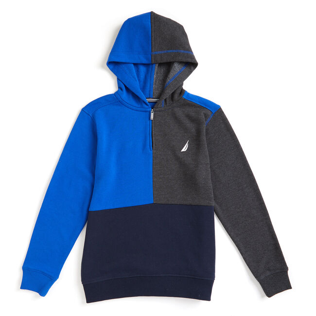 Toddler Boys' Karl Active Colorblock Quarter-Zip Hoodie (2T-4T),Imperial Blue,large