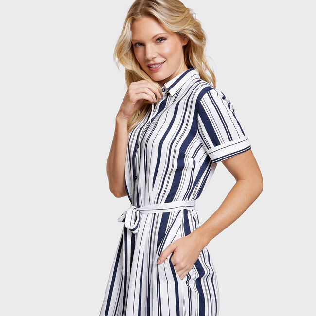 Belted Varigated Stripe Shirtdress,Bright White,large
