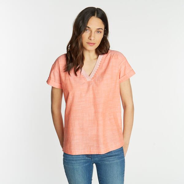Short Sleeve Embroidered Woven Top - Vibe Orange