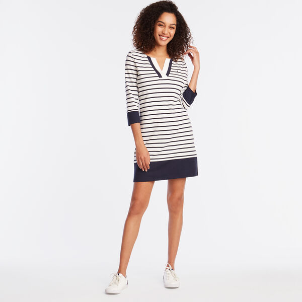 LONG SLEEVE STRIPE KNIT DRESS - Marshmallow
