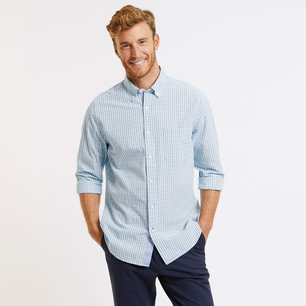 Classic Fit Long Sleeve Gingham Button Down - True Navy