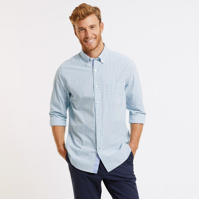 Classic Fit Long Sleeve Gingham Button Down,True Navy,large