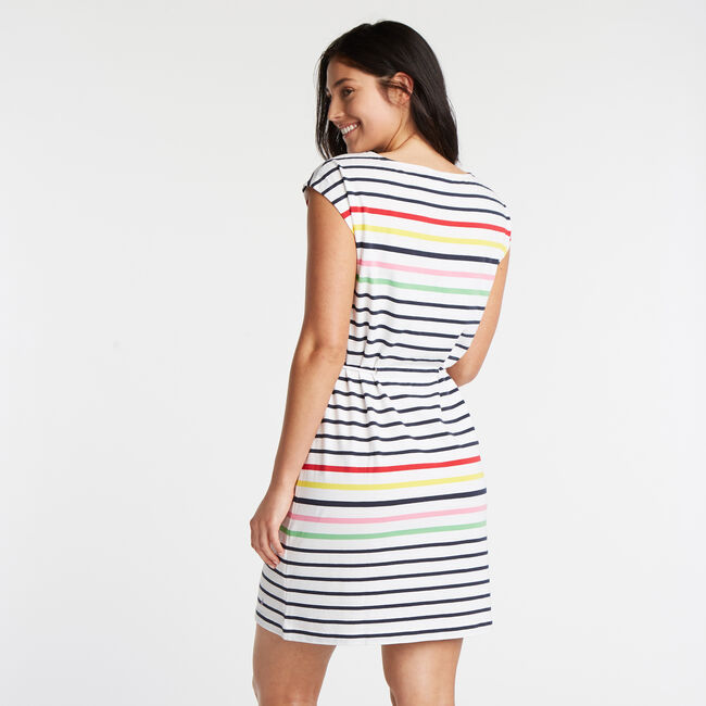 JERSEY SHIFT DRESS IN STRIPE,Bright White,large