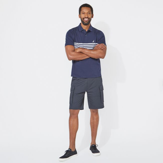CLASSIC FIT PERFORMANCE TECH POLO IN STRIPE,Navy,large