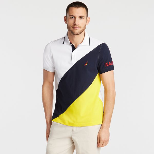 SLIM FIT POLO IN DIAGONAL COLORBLOCK - Bright White