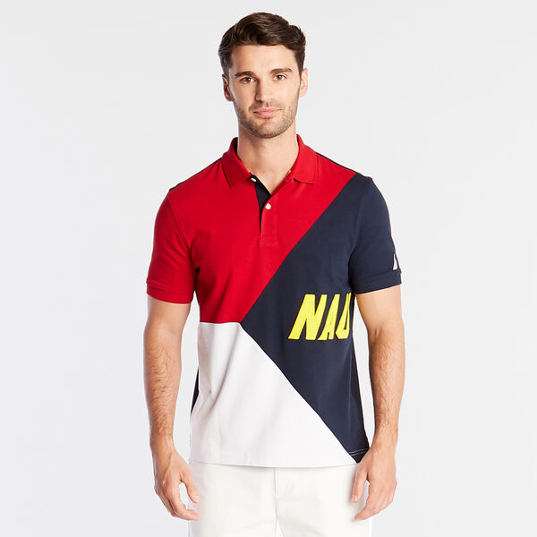 CLASSIC FIT JERSEY POLO IN DIAGONAL COLORBLOCK - Nautica Red