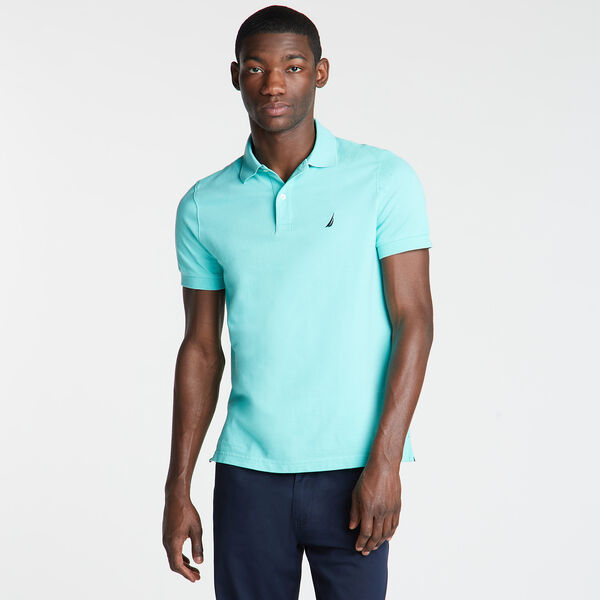 SLIM FIT MESH POLO - Poolside Aqua