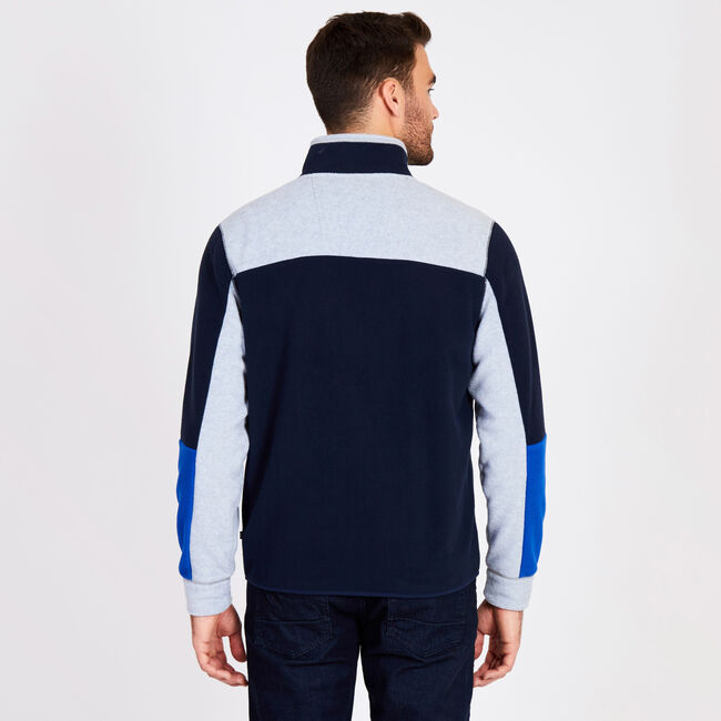 Full-Zip Colorblock Knit Jacket,Pure Dark Pacific Wash,large