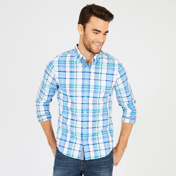 Big & Tall Long Sleeve Classic Fit Plaid Shirt - Clear Sky Blue
