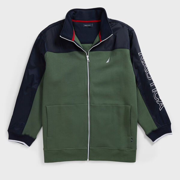 BIG & TALL COLORBLOCK FULL ZIP TRACK JACKET - Pineforest