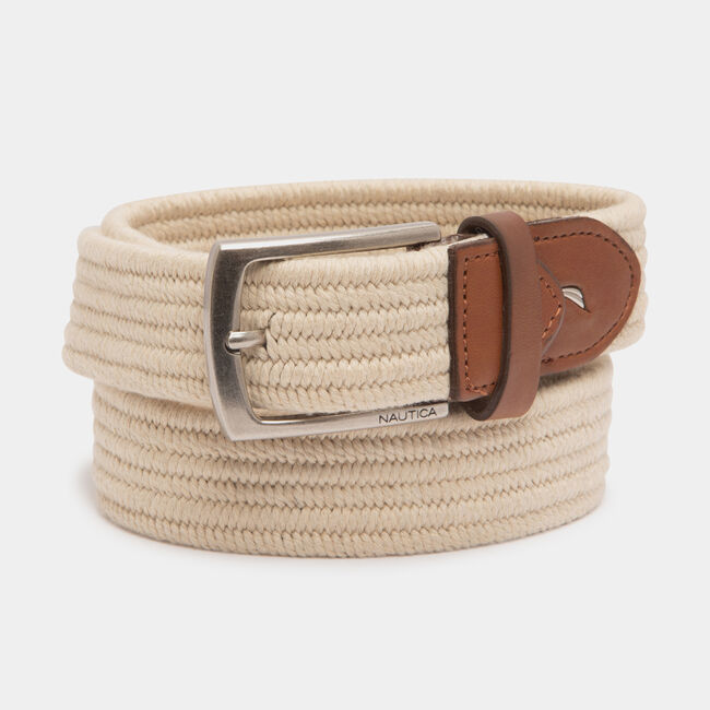 WOVEN ROPE BELT,Military Tan,large