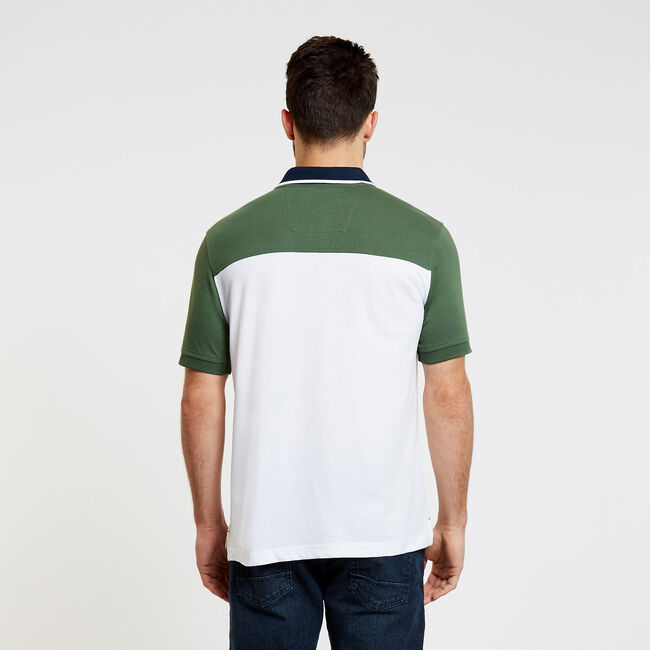 Chest Stripe Short Sleeve Classic Fit Polo,Green Glow,large