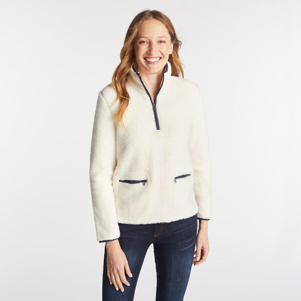 SHERPA QUARTER-ZIP FLEECE PULLOVER - Marshmallow