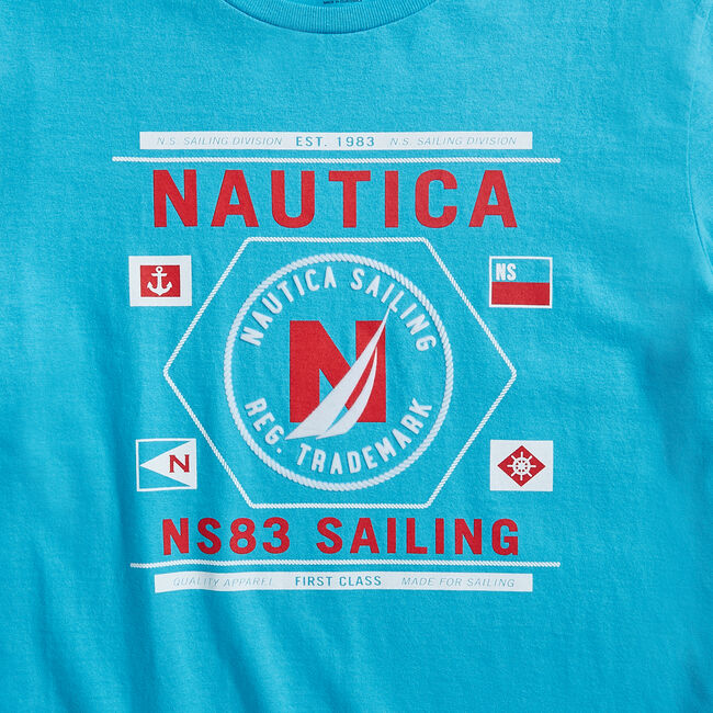 SAILING GRAPHIC T-SHIRT,Aqua Sky,large