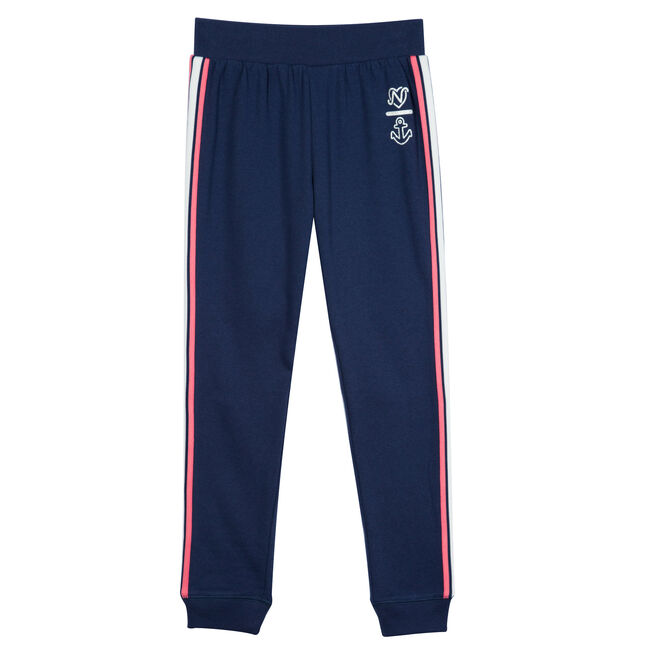 Girls' Fleece Joggers with Tapping (7-16),Navy,large