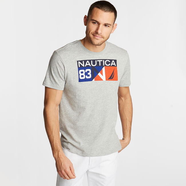 Colorblock T-Shirt in '83 Logo,Grey Heather,large