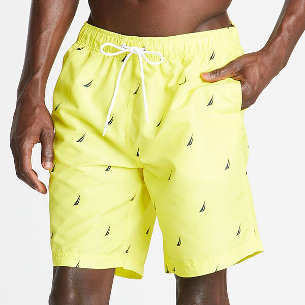 "8"" ELASTIC WAIST PRINTED SWIM TRUNK - Blazing Yellow"