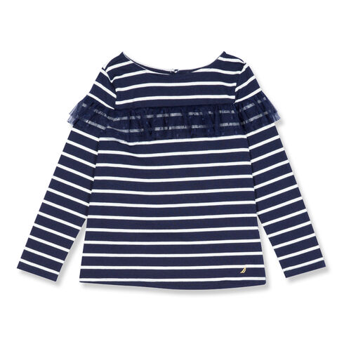Girls' Striped Top With Mesh Ruffle (7-16) - Navy