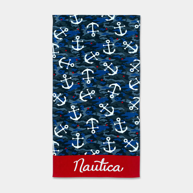 KIDS' TOSSED ANCHOR PRINT BEACH TOWEL,Workshirt Blue,large