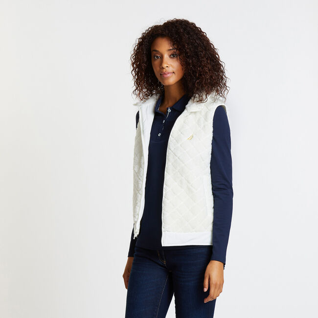 Reversible Quilted Sherpa Fleece Vest,Marshmallow,large
