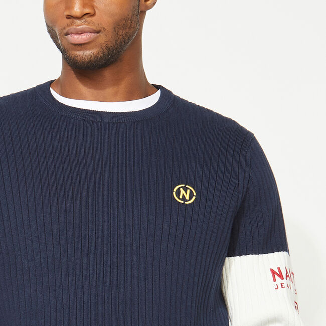 NAUTICA JEANS CO. ARM BAND SWEATER,Navy,large
