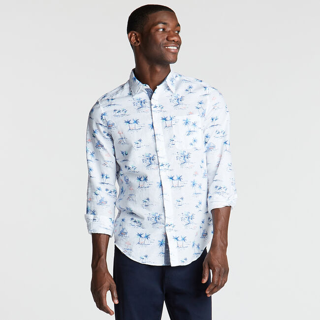 Classic Fit Linen Blend Shirt in Print,Bright White,large