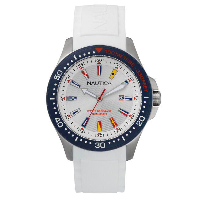 Jones Beach Silicone Watch - White,Black,large