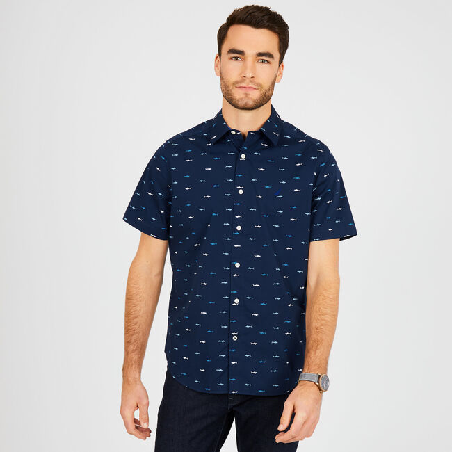 Big & Tall Shark Motif Classic Fit Short Sleeve Shirt,Peacoat,large
