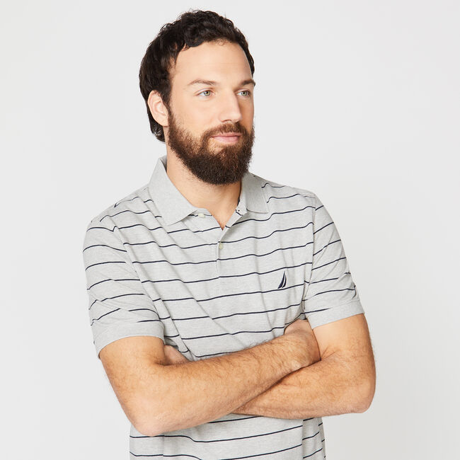 Classic Fit Mesh Polo in Breton Stripe,Grey Heather,large