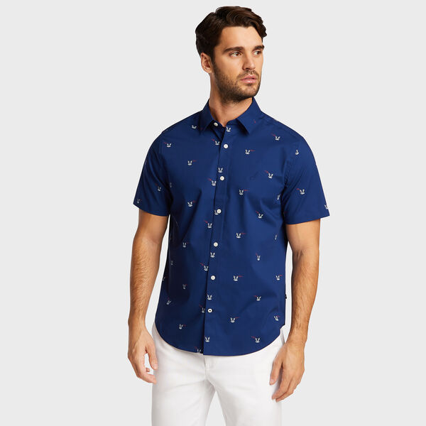 Wrinkle-Resistant Short Sleeve Classic Fit Shirt - Blue Depths