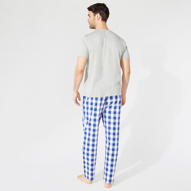 CLASSIC FIT SHORT SLEEVE GINGHAM PANT PAJAMA SET,Grey Heather,large