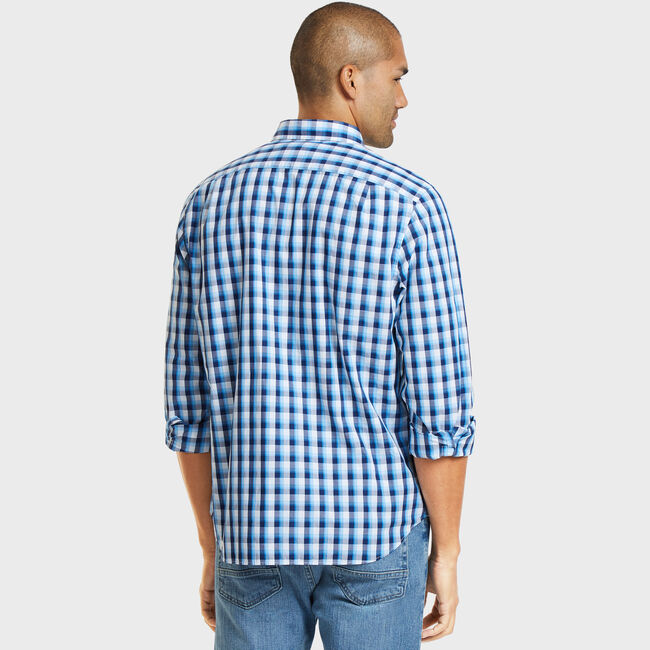 Classic Fit Poplin Shirt in Plaid,Alaskan Blue,large