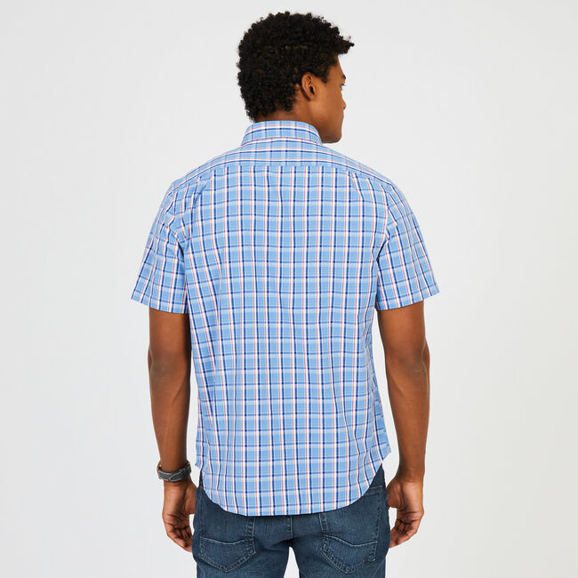 Classic Fit Madras Plaid Short Sleeve Button Down ,Riviera Blue,large