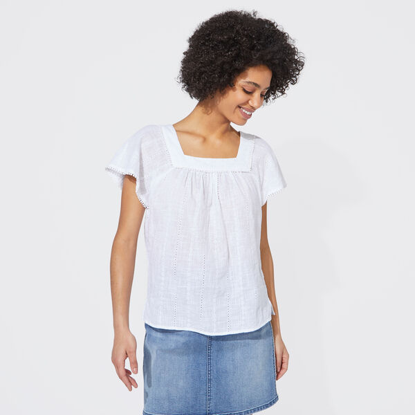 NAUTICA JEANS CO. EMBROIDERED STRIPE SQUARE NECK TOP - Bright White