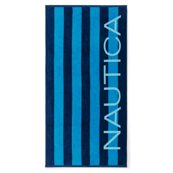 MIXED BLUE STRIPE BEACH TOWEL - Navy