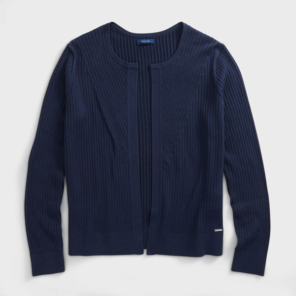 RIBBED OPEN-FRONT CARDIGAN - Stellar Blue Heather