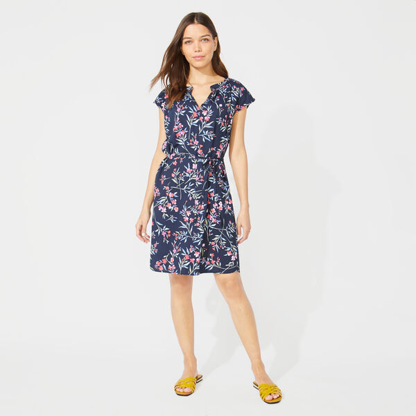 FLORAL PRINT SPLIT NECK DRESS - Stellar Blue Heather
