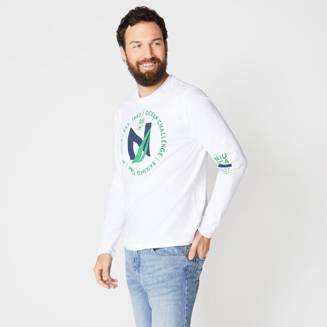GRAPHIC LONG SLEEVE T-SHIRT,Bright White,large