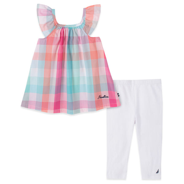TODDLER GIRLS' PLAID CAPRI 2PC SET (2T-4T) - Pink