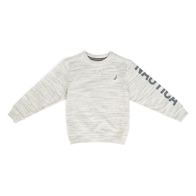 Boys' Nevin Heathered Logo Pullover (8-20),Oat,large