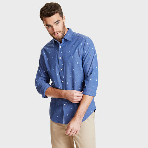 LONG SLEEVE SAILBOAT PRINTED OXFORD IN CLASSIC FIT - Blue Depths