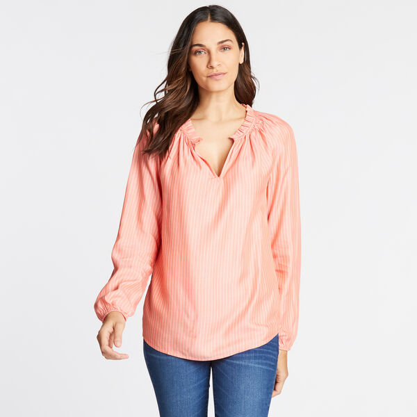 LONG SLEEVE RAGLAN SOFT TWILL STRIPED TOP - Livng Coral