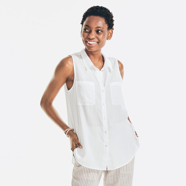 SUSTAINABLY CRAFTED SLEEVELESS BUTTON-DOWN TOP - Bright White
