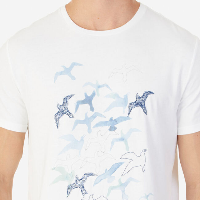 Watercolor Seagulls Graphic T-Shirt,Bright White,large