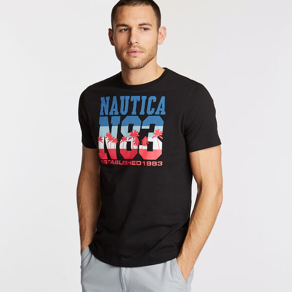 N83 Crewneck T-Shirt in Palm Trees Graphic - True Black