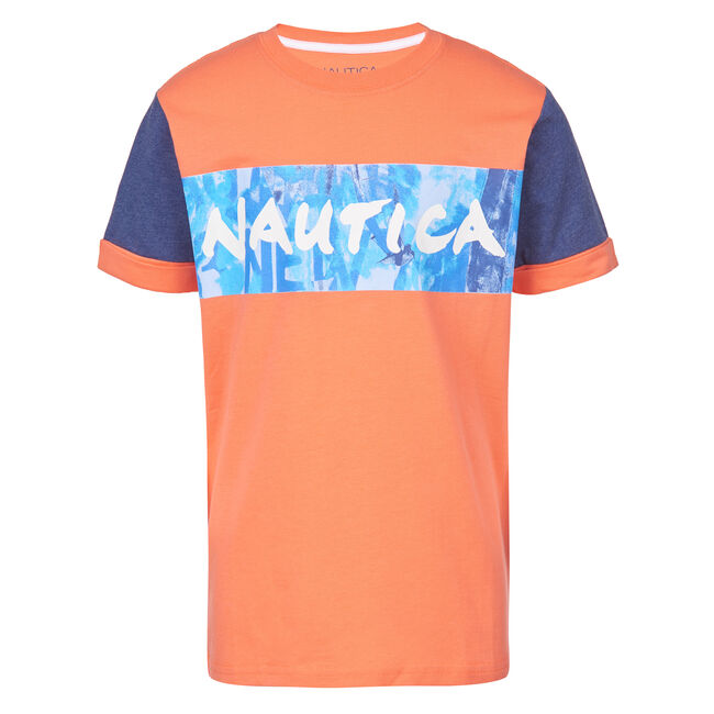 TODDLER BOYS' GIO CHEST LOGO TEE  (2T - 4T),Livng Coral,large