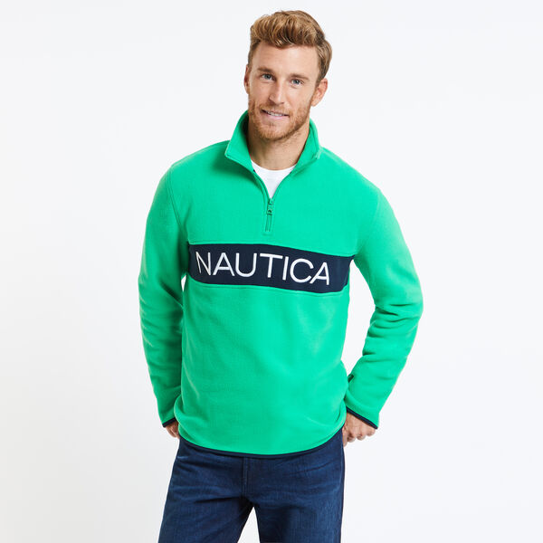 Chest Logo Nautex Quarter-Zip Active Pullover - Floating Moss